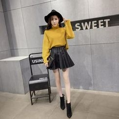 RUI - A-line Faux Leather Skirt