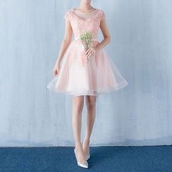 Luxury Style - Embellished Cap Sleeve Mini Prom Dress