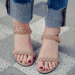 chuu - Braided Strap Block-Heel Sandals