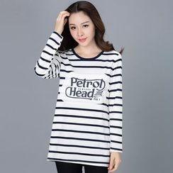 Eloqueen - Long-Sleeve Striped Long T-Shirt