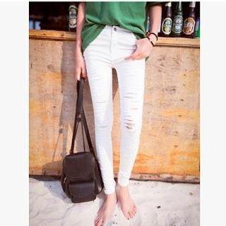 MISS BIG - Distressed Skinny Jeans