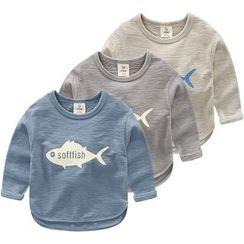貝殼童裝 - 兒童魚印花長袖T恤