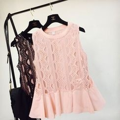 Cotton Candy - Flounced Sleeveless Lace Top