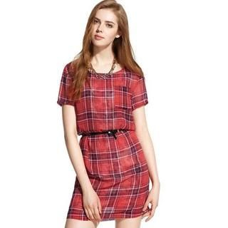 Moonbasa - Plaid Dress with Belt