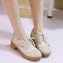 Shoes Galore - Block Heel Brogue Oxfords