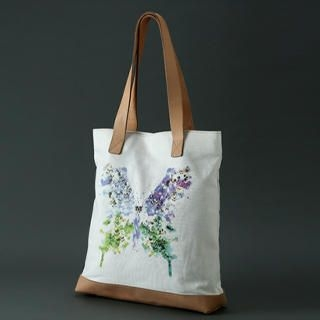 Dreamcoholic - Genuine Leather Handle Print Butterfly Print Tote Bag
