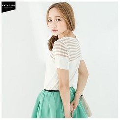 CatWorld - Short-Sleeve Stripe Panel Knit Top