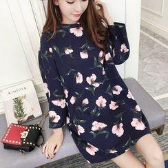 Glen Glam - Floral Print Long-Sleeve T-shirt Dress