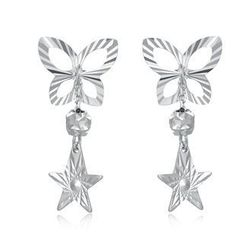 MaBelle - 14K/585 White Gold Butterfly Dangling Star Stud Earrings