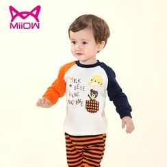 MiiOW - Kids Set: Print Color Block Sweatshirt + Pants