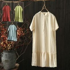 Rosadame - Plain Linen Cotton Short-Sleeve Dress