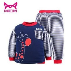 MiiOW - Kids Set: Printed Pullover + Striped Pants