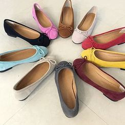 STYLEBYYAM - Genuine-Leather Bow-Accent Flats
