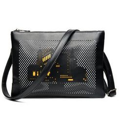 TESU - Perforated Clutch with Shoulder Strap