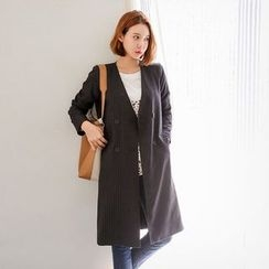 Seoul Fashion - Collarless Double-Breasted Striped Long Jacket