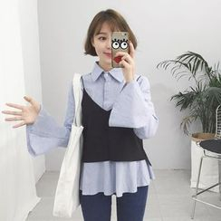 Glen Glam - 套裝: 條紋襯衫 + 純色背心