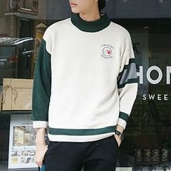 ZZP HOMME - Color Block Embroidered Sweater