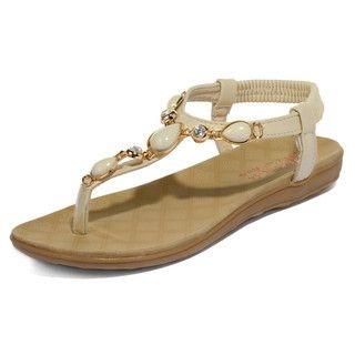 yeswalker - Rhinestone T-Strap Thong Sandals