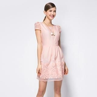 O.SA - Cap-Sleeve Embroidered Tulle-Panel Dress