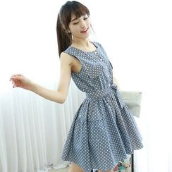 Dodostyle - Polka Dot Sleeveless A-Line Dress with Sash