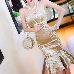 Mi Camilla - Strapless Sheath Lace Party Dress