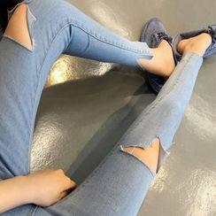 時尚麻豆家 - 鏤空窄身牛仔褲