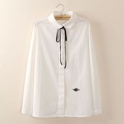 Tangi - Ribbon-collar Embroidered Long-Sleeve Blouse