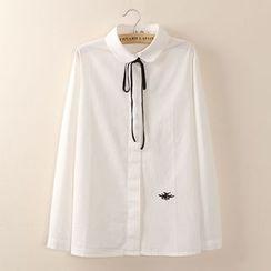Tangi - 长袖蝴蝶结领刺绣衬衫