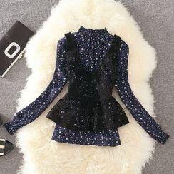 Clementine - 套裝: 碎花長袖襯衫 + 針織馬甲