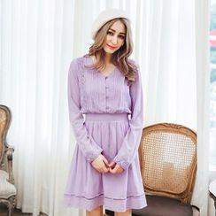 Tokyo Fashion - Long-Sleeve V-Neck Paneled Dress