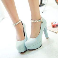Gizmal Boots - 仿珍珠粗跟高跟鞋