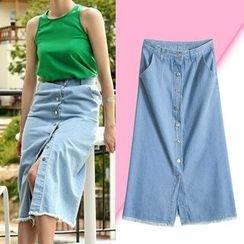 Isadora - Buttoned Midi Denim Skirt