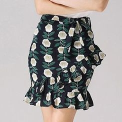 Isadora - Floral Print Ruffle Pencil Skirt