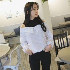 Envy Look - Inset Mock-Neck Collared Blouse