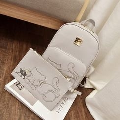 Rosanna Bags - Set of 2: Cat Applique Backpack + Clutch