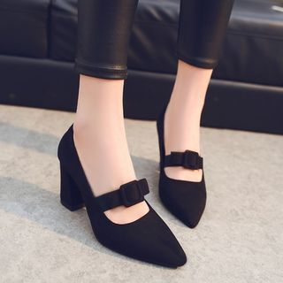 MISSEY - Chunky Heel Pointed Pumps