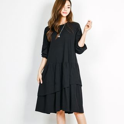 FASHION DIVA - Long-Sleeved Asymmetric Layered Dress