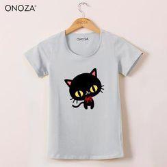 Onoza - Short-Sleeve Cat-Print T-Shirt