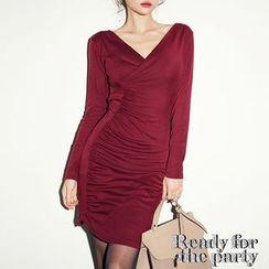 chuu - V-Neck Shirred-Front Bodycon Dress