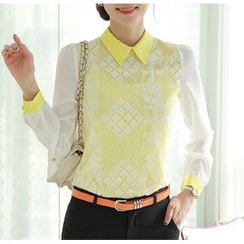 In the Mood - Contrast Trim Lace Chiffon Long Sleeve Blouse