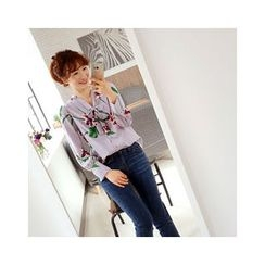 LEELIN - Tie-Neck Floral Blouse