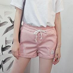Cobogarden - Ripped Drawstring Shorts