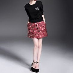 Alaroo - Set: Embellished Sweater + Printed Skirt