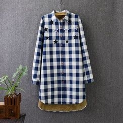Blue Rose - Plaid Star Fleece-lined Long Blouse