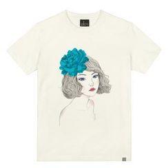 the shirts - Girl & Blue Rose Print T-Shirt