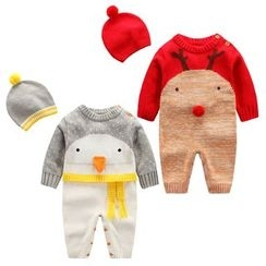 Madou - Baby Color-Block Knit One-Piece