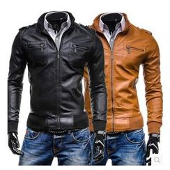 Hansel - Faux Leather Stand-collar Jacket