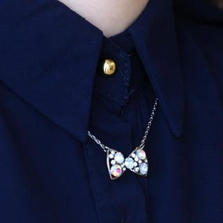 59 Seconds - Rhinestone-Bow Necklace