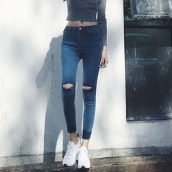 Dream Bear - Washed Distressed Skinny Cropped Jeans
