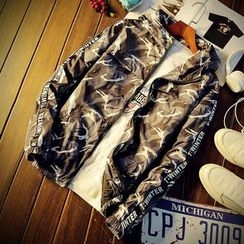 LIBIN - Lettering Applique Hooded Camo Jacket